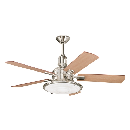 Kichler ceiling fan with light kit in polished nickel finish 300020pn destination lighting