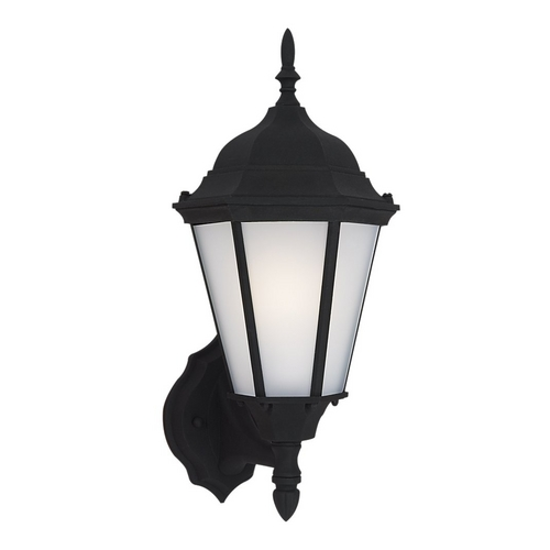 Sea Gull Lighting Outdoor Wall Light with White Glass in Black Finish 88941BLE-12