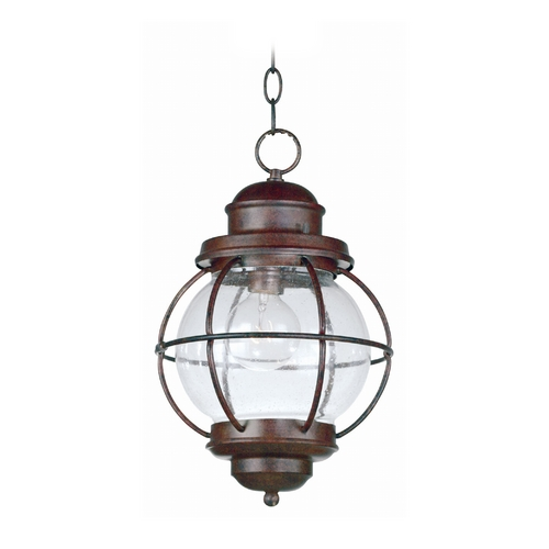 Kenroy Home Lighting Outdoor Hanging Light with Clear Glass in Gilded Copper Finish 90965GC