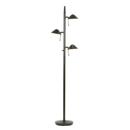 Design Classics Lighting Black Halogen Tree Lamp with Three Directional Lights JF-885 MATTE BLACK