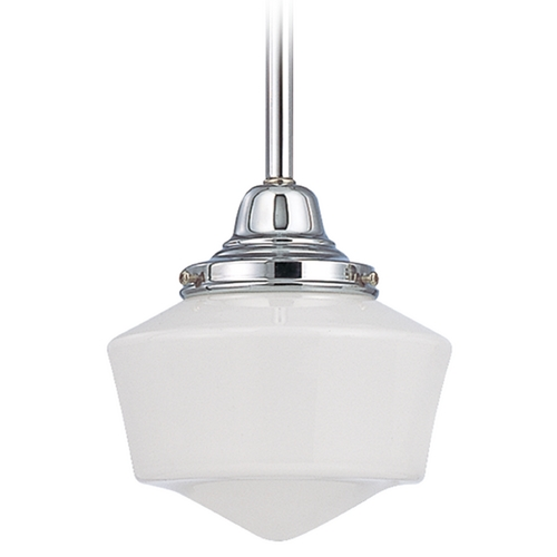 Design Classics Lighting 6-Inch Schoolhouse Mini-Pendant Light in Chrome Finish FC3-26 / GF6