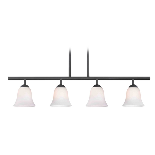 Design Classics Lighting Modern Island Light with White Glass in Matte Black Finish 718-07 GL9222-WH