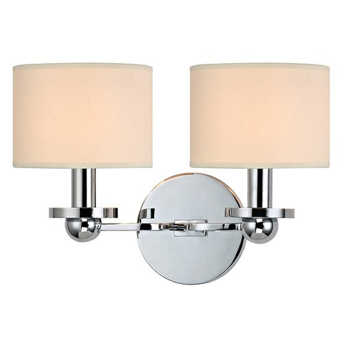 Hudson Valley Lighting Kirkwood 2 Light Sconce Drum Shade - Polished Chrome 1512-PC