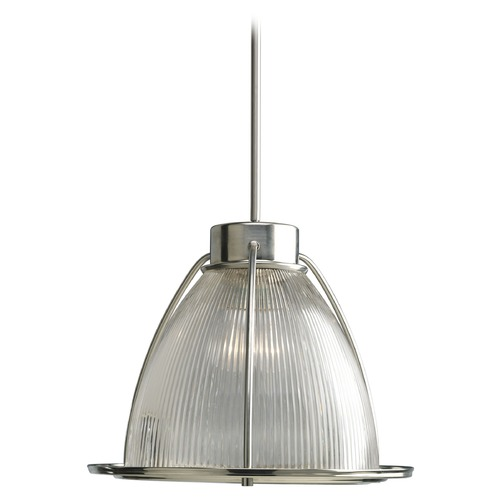 Progress Lighting Modern Prismatic Glass Pendant Light Brushed Nickel Progress Lighting P5183-09