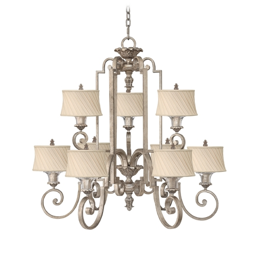 Frederick Ramond Chandelier with Beige / Cream Shades in Silver Leaf Finish FR42728SLF