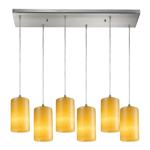Elk Lighting Modern Multi-Light Pendant Light with Yellow Glass and 6-Lights 10169/6RC