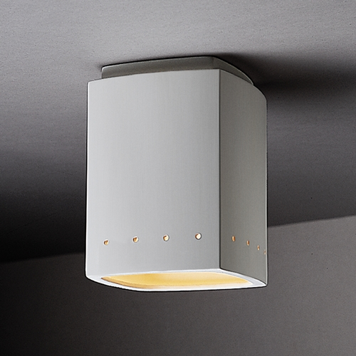 Justice Design Group Flushmount Light with White Shade in Bisque Finish CER-6115-BIS