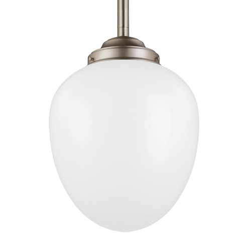 Feiss Lighting Feiss Alcott Satin Nickel Pendant Light with Oval Shade P1402SN