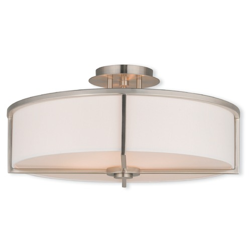 Livex Lighting Livex Lighting Wesley Brushed Nickel Semi-Flushmount Light 51075-91