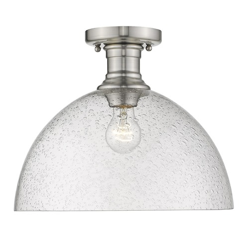 Golden Lighting Golden Lighting Hines Pewter Semi-Flushmount Light with Seeded Shade 3118-SF14PW-SD