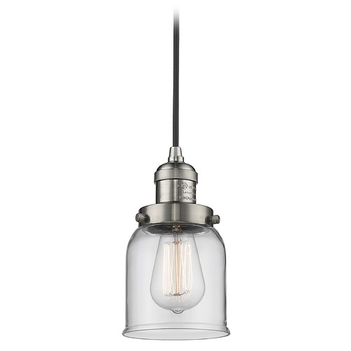 Innovations Lighting Innovations Lighting Small Bell Brushed Satin Nickel Mini-Pendant Light with Bell Shade 201C-SN-G52