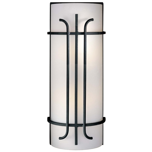 Minka Lavery Sconce Wall Light with White Glass in Black Finish 6872-66