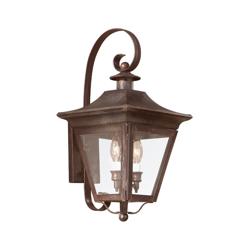 Troy Lighting Outdoor Wall Light with Clear Glass in Charred Iron Finish B8930CI