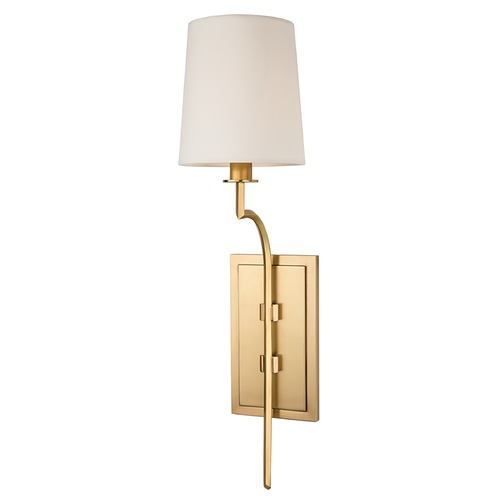 Hudson Valley Lighting Sconce Wall Light with White Shade in Aged Brass Finish 3111-AGB