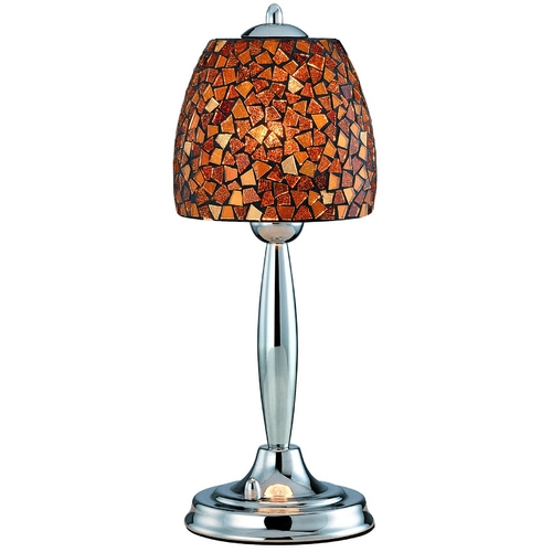 Lite Source Lighting Table Lamp with Amber Glass in Polished Steel Finish LS-20485AMB/MOS