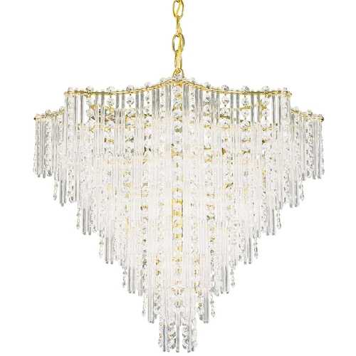 Schonbek Lighting Schonbek Multi-Tier 11-Light Crystal Chandelier in Satin Silver J- 2652-40
