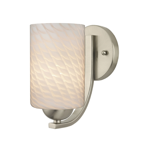 Design Classics Lighting Satin Nickel Wall Sconce with White Art Glass Cylinder Shade 585-09 GL1020C