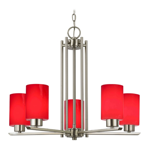 Design Classics Lighting Modern Chandelier with Red Glass in Satin Nickel Finish 1120-1-09 GL1008C
