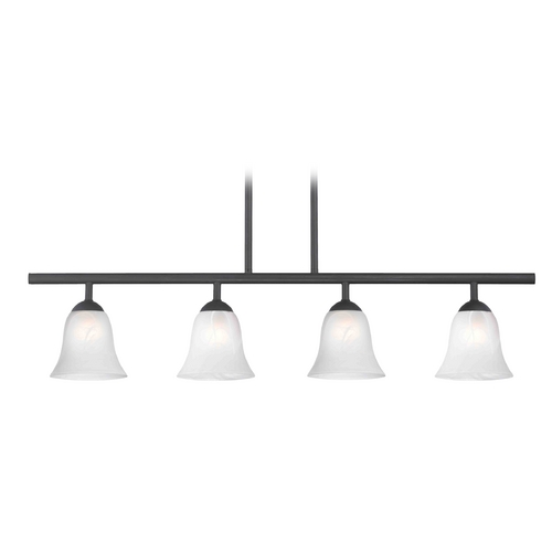 Design Classics Lighting Modern Island Light with Alabaster Glass in Matte Black Finish 718-07 GL9222-ALB