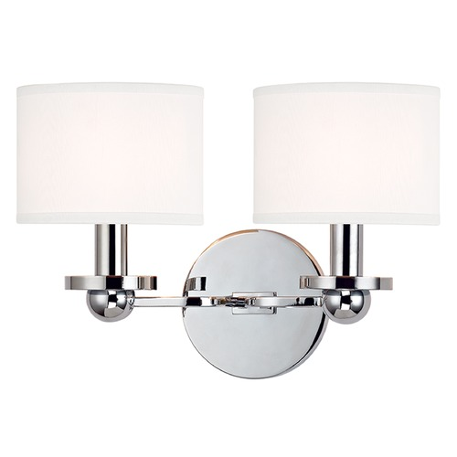 Hudson Valley Lighting Kirkwood 2 Light Sconce Drum Shade - Polished Chrome 1512-PC-WS