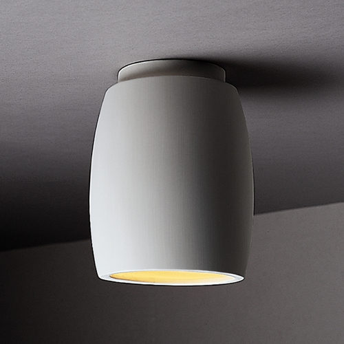 Justice Design Group Flushmount Light with White Shade in Bisque Finish CER-6130-BIS