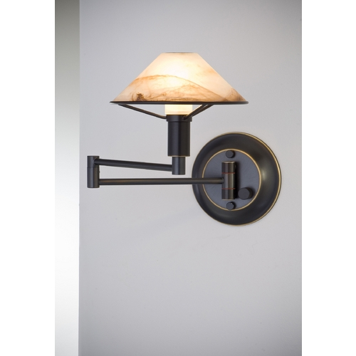 Holtkoetter Lighting Holtkoetter Modern Swing Arm Lamp with Alabaster Glass in Hand-Brushed Old Bronze Finish 9426 HBOB ABR