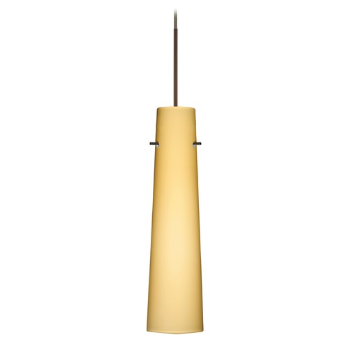 Besa Lighting Besa Lighting Camino Bronze Mini-Pendant Light with Cylindrical Shade 1XT-5674VM-BR