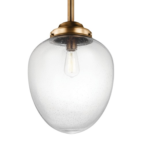 Feiss Lighting Feiss Alcott Aged Brass Pendant Light with Oval Shade P1403AGB