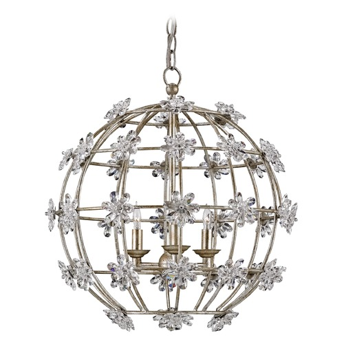 Currey and Company Lighting Currey and Company Fleur Silver Granello Pendant Light 9849
