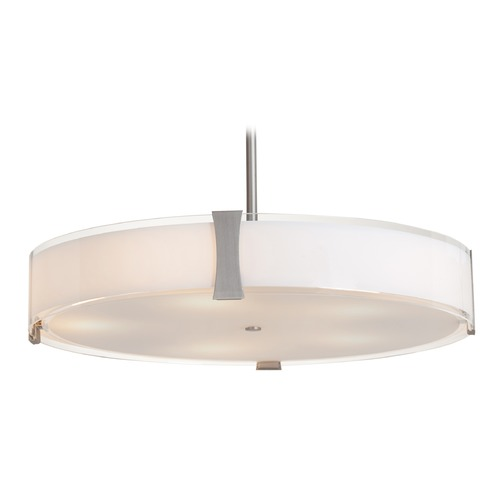 Access Lighting Access Lighting Tara Brushed Steel LED Pendant Light with Drum Shade 50124LEDD-BS/OPL