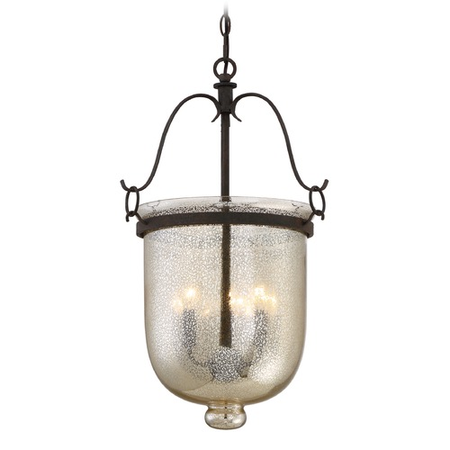 Quoizel Lighting Mercury Glass Pendant Light Black Quoizel Lighting BGS5203RK