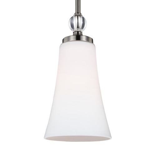 Feiss Lighting Feiss Lighting Evington Satin Nickel Mini-Pendant Light with Bell Shade P1415SN