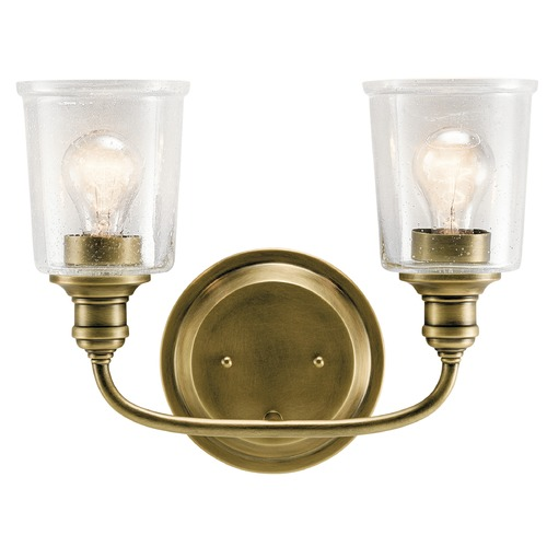 Kichler Lighting Seeded Glass Bathroom Light Brass Kichler Lighting 45746NBR