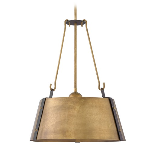 Hinkley Lighting Industrial Rustic Brass Pendant Light by Hinkley Lighting 3395RS