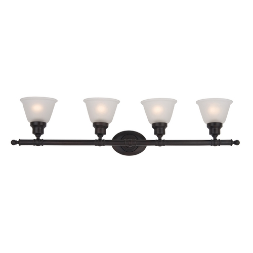 Maxim Lighting Bathroom Light with White Glass in Oil Rubbed Bronze Finish 7144FTOI