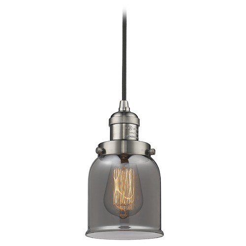 Innovations Lighting Innovations Lighting Small Bell Brushed Satin Nickel Mini-Pendant Light with Bell Shade 201C-SN-G53