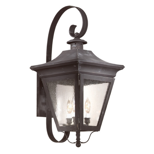Troy Lighting Outdoor Wall Light with Clear Glass in Charred Iron Finish BCD8933CI