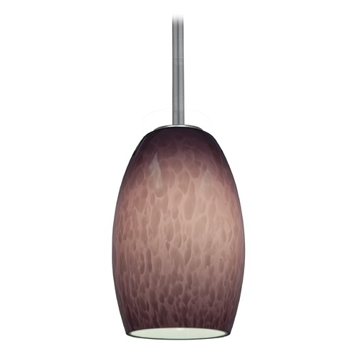 Access Lighting Modern Mini-Pendant Light with Purple Glass 28078-1R-BS/PLC