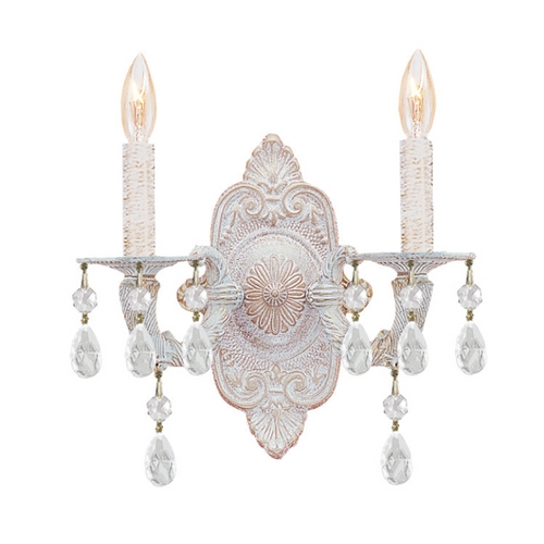 Crystorama Lighting Crystal Sconce Wall Light in Antique White Finish 5022-AW-CL-MWP