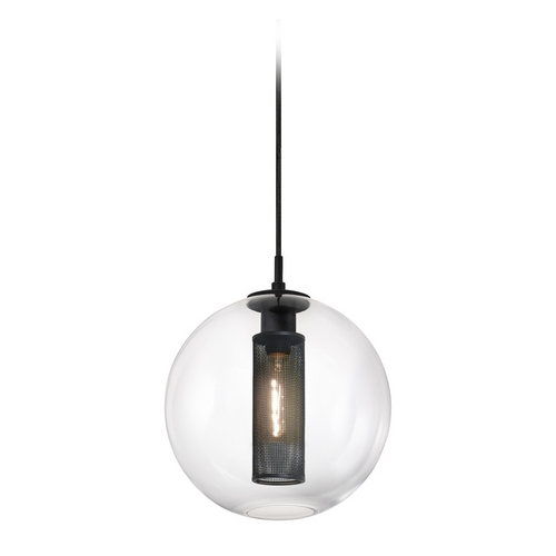 Sonneman Lighting Modern Pendant Light with Clear Glass in Textured Black Finish 4933.97