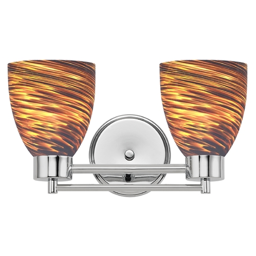 Design Classics Lighting Modern Bathroom Light with Brown Art Glass in Chrome Finish 702-26 GL1023MB