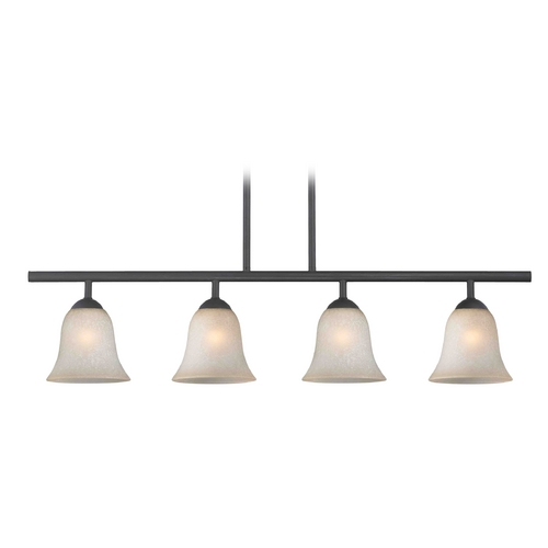Design Classics Lighting Modern Island Light with Brown Glass in Matte Black Finish 718-07 GL9222-CAR