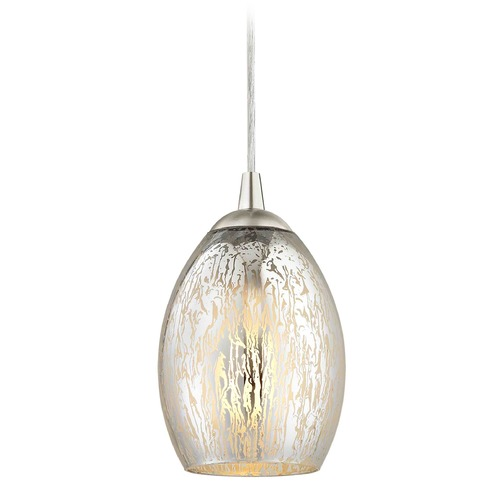 Design Classics Lighting Design Classics Gala Fuse Satin Nickel LED Mini-Pendant Light with Oblong Shade 682-09 GL1034-MER