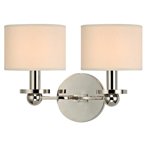 Hudson Valley Lighting Kirkwood 2 Light Sconce Drum Shade - Polished Nickel 1512-PN