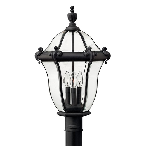 Hinkley Post Light with Clear Glass in Museum Black Finish 2441MB