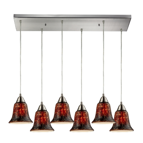 Elk Lighting Modern Multi-Light Pendant Light with Brown Glass and 6-Lights 31130/6RC-FDG