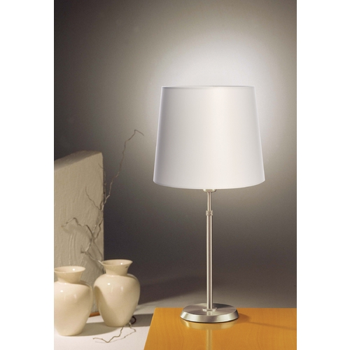 Holtkoetter Lighting Holtkoetter Modern Table Lamp with White Shade in Satin Nickel Finish 6263 SN SWRG