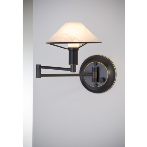 Holtkoetter Lighting Holtkoetter Modern Swing Arm Lamp with Alabaster Glass in Hand-Brushed Old Bronze Finish 9426 HBOB AWH