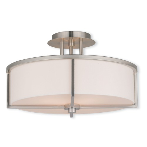 Livex Lighting Livex Lighting Wesley Brushed Nickel Semi-Flushmount Light 51074-91