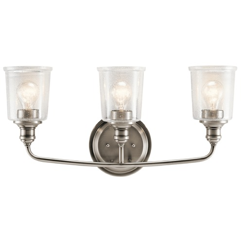 Kichler Lighting Seeded Glass Bathroom Light Pewter Kichler Lighting 45747CLP